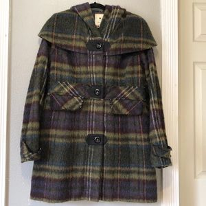 Elevenses wool plaid hooded coat